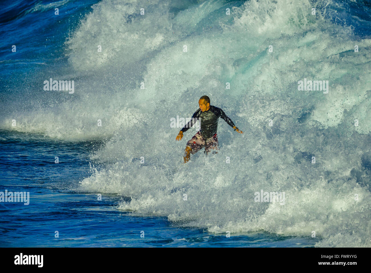 Surfing in Maui Stock Photo