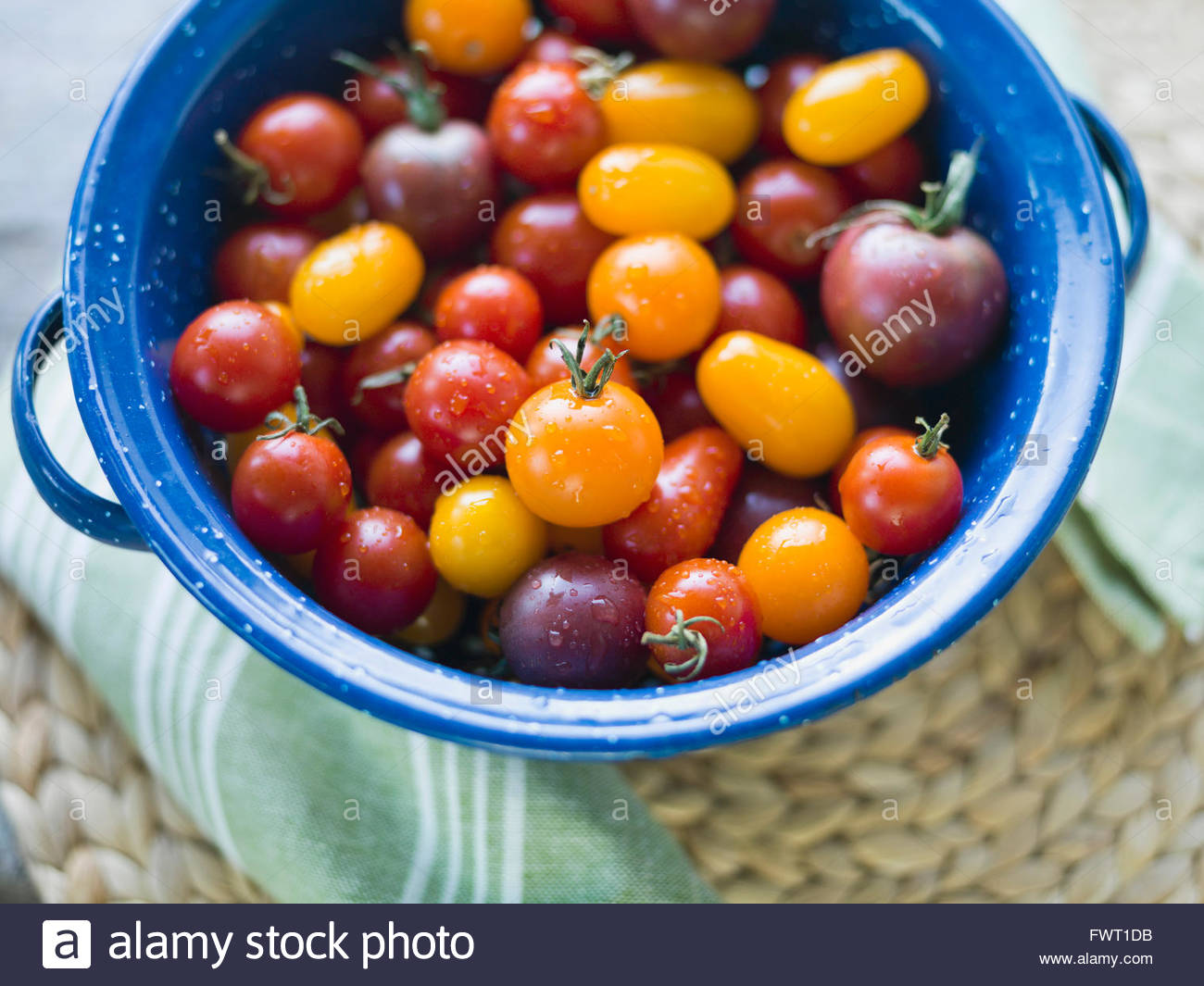 Washed cherry Tomatoes in colander - Stock Image