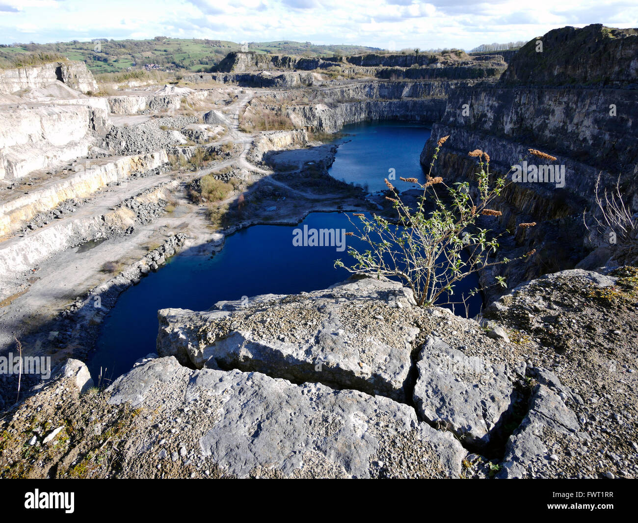 limestone quarry at Wirksworth Cromford village town Peak District National Park, Derbyshire planning application - Stock Image