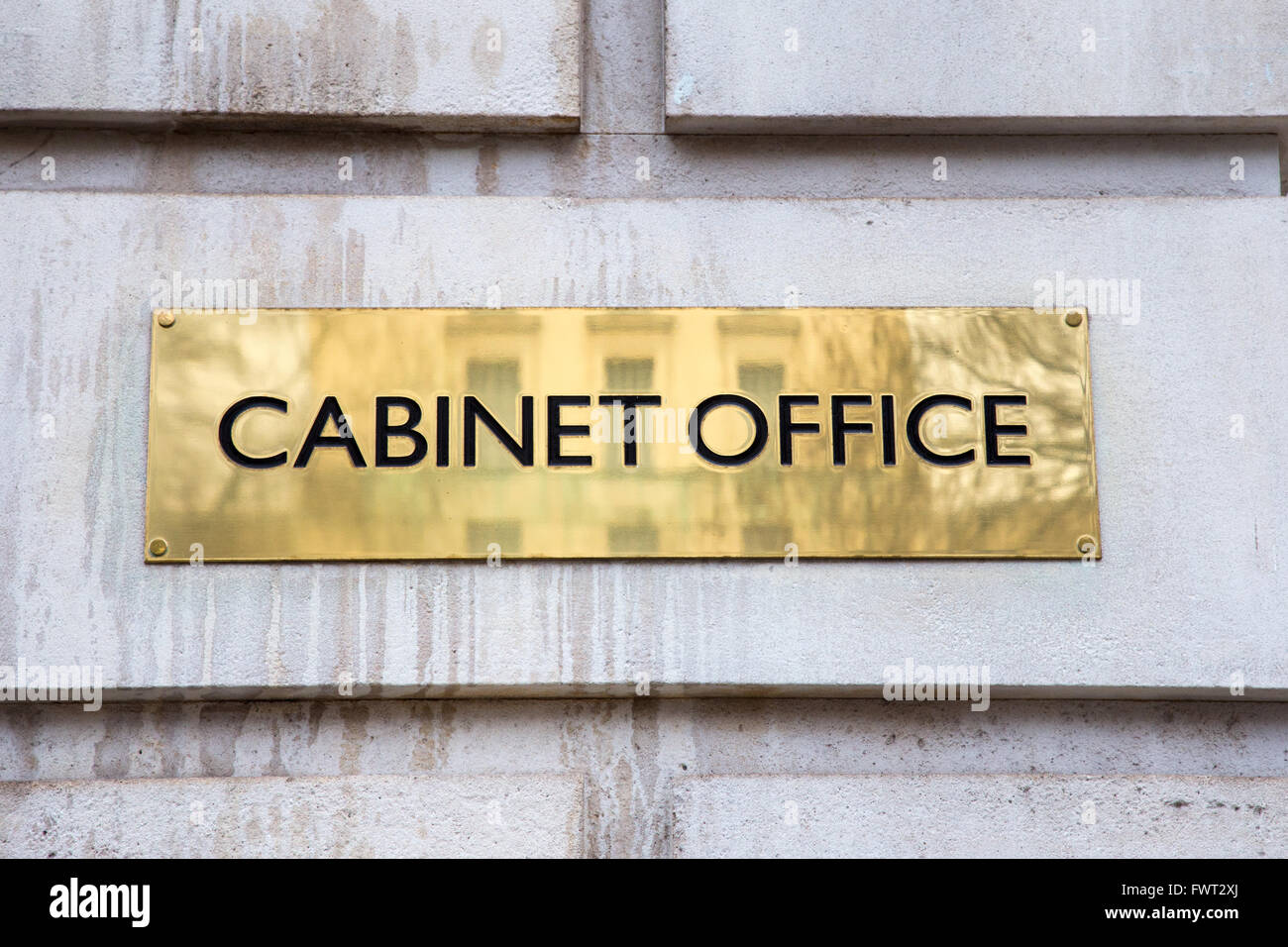 Cabinet Office sign in Whitehall, Westminster, London - Stock Image