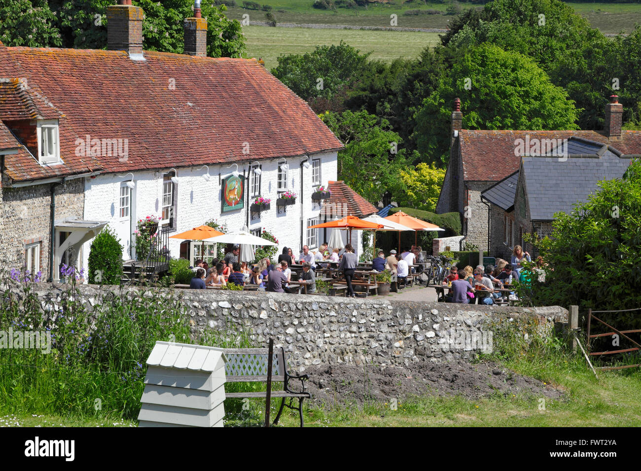 The picturesque Tiger Inn, East Dean, a rural country village pub nestling in the South Downs, East Sussex, England, - Stock Image