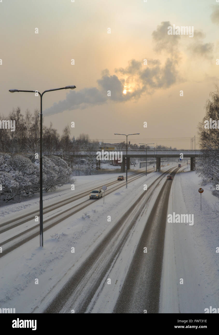 Icy and slippery road in the winter, Finland - Stock Image