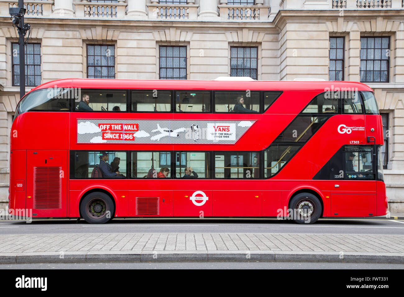 London New Routemaster double-decker red bus - Stock Image