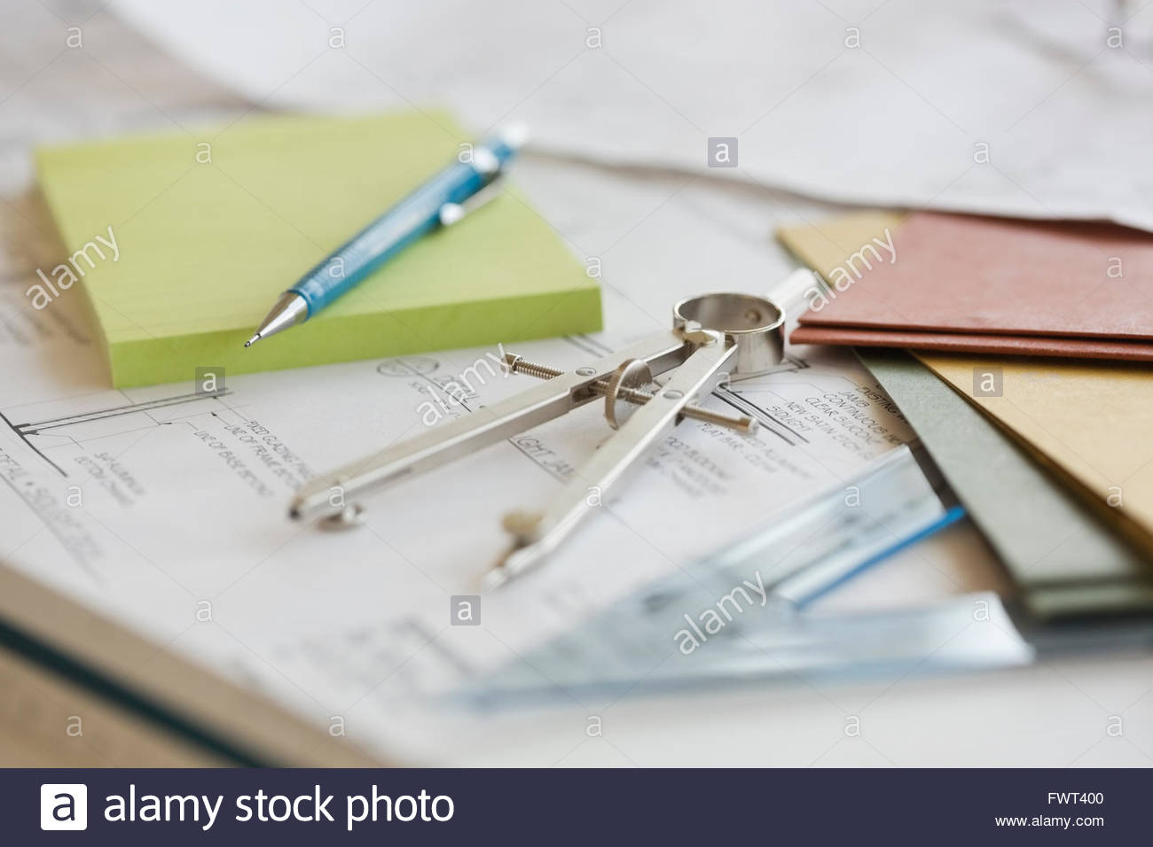 Geometry Compass and Blueprints - Stock Image