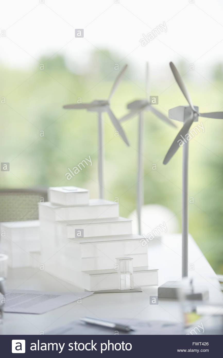 Architecture and wind turbine models - Stock Image