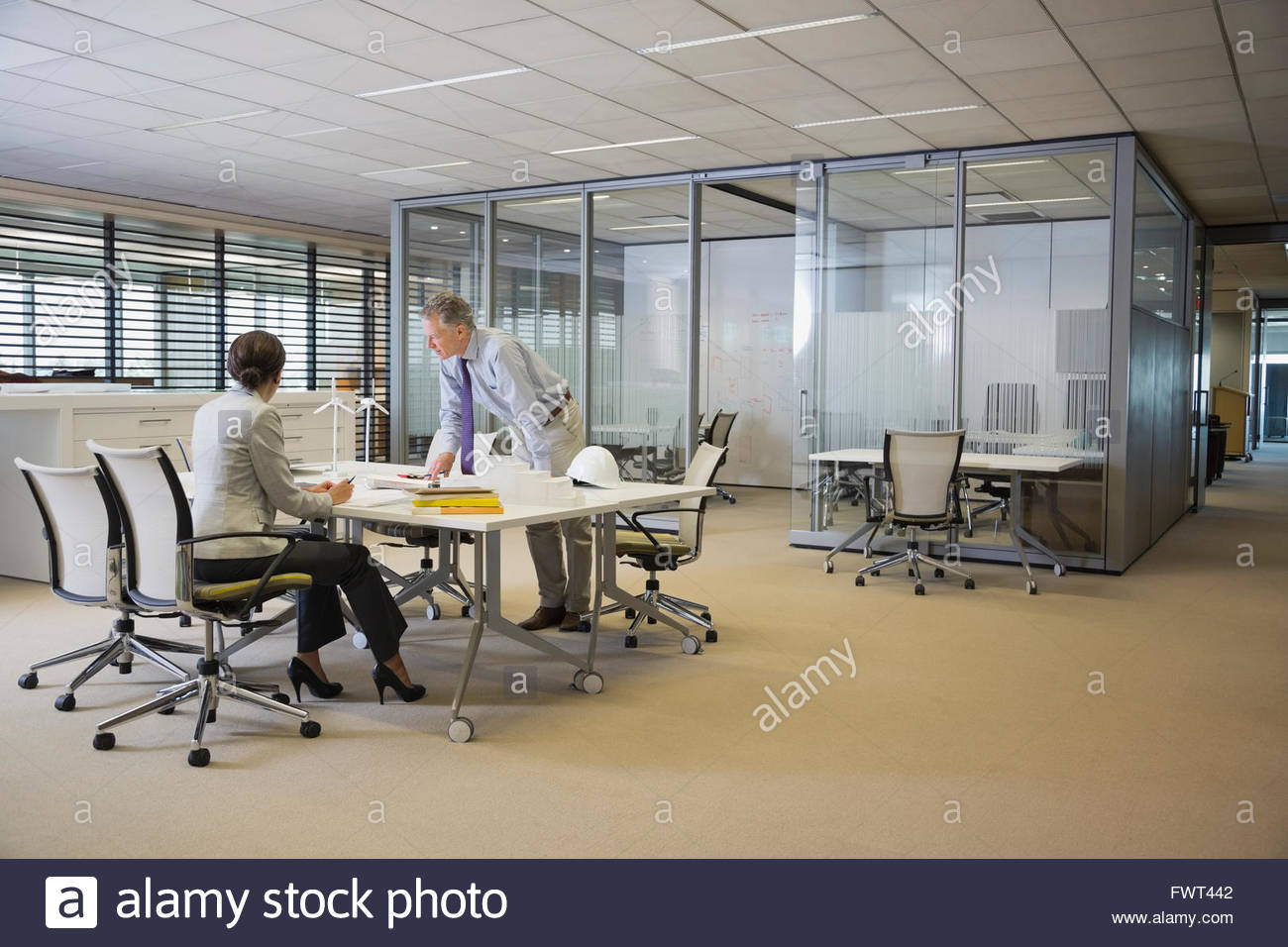 Colleagues collaborating on project - Stock Image