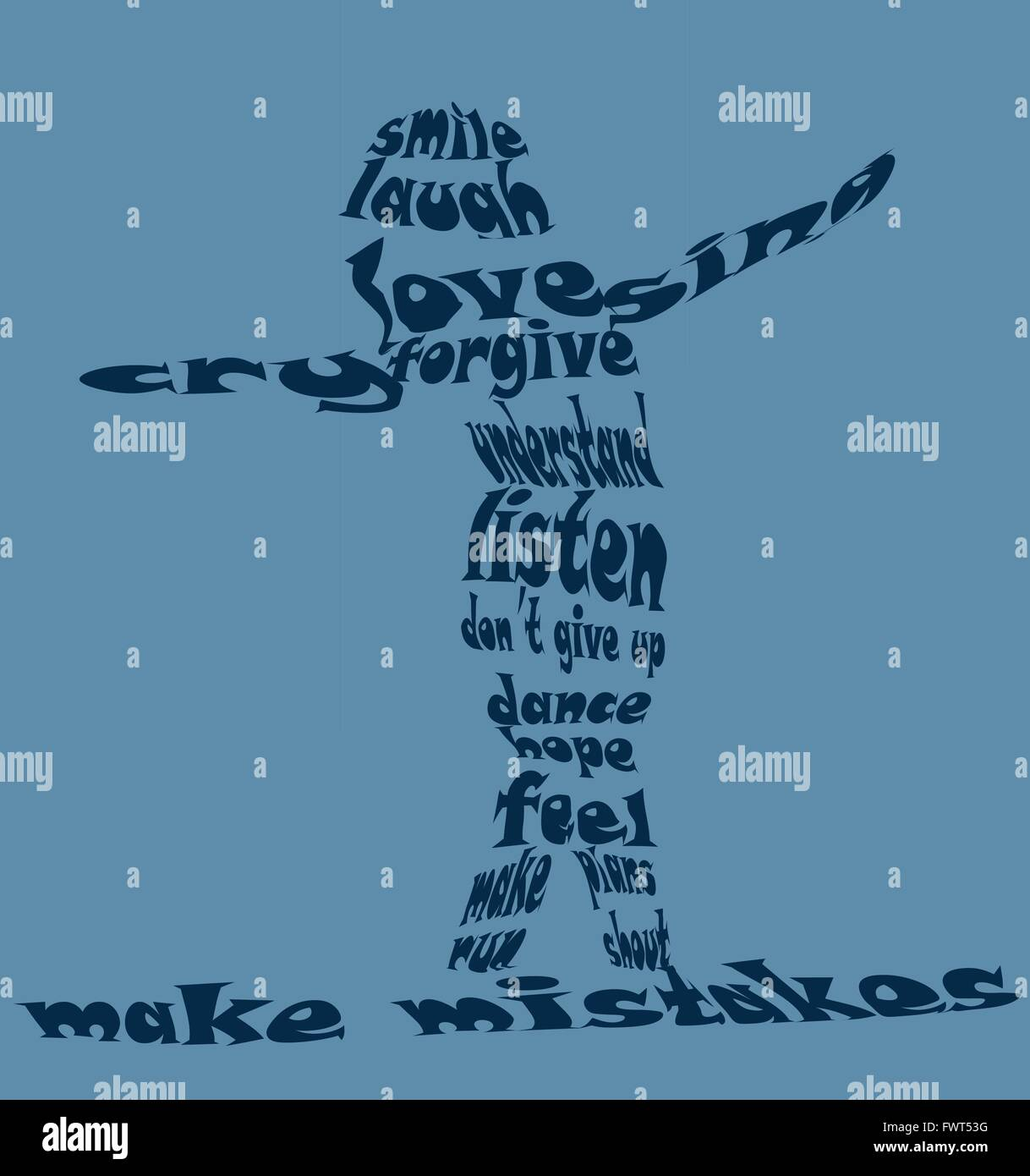 e silhouette made of words sending a positive messages about