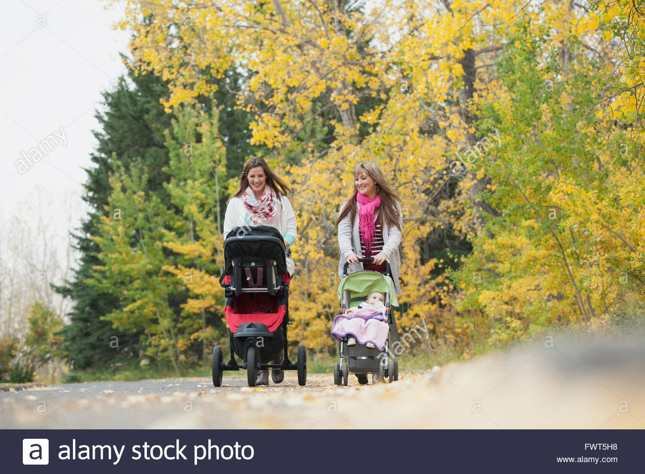 Mothers pushing babies in strollers on pathway - Stock Image