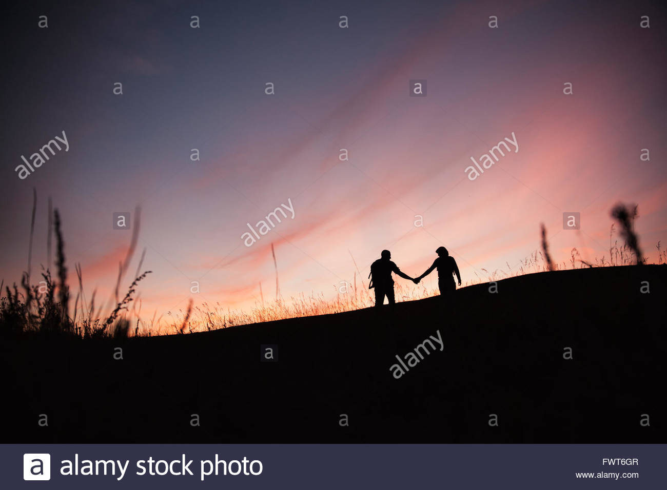 Silhouette of couple holding hands outdoors. - Stock Image