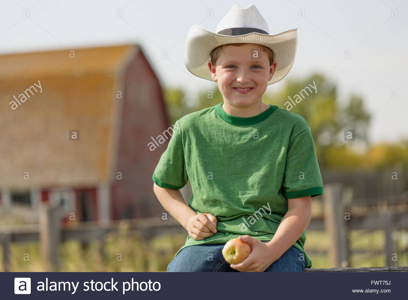 Young boy with cowboy hat sitting on fence. Stock Photo