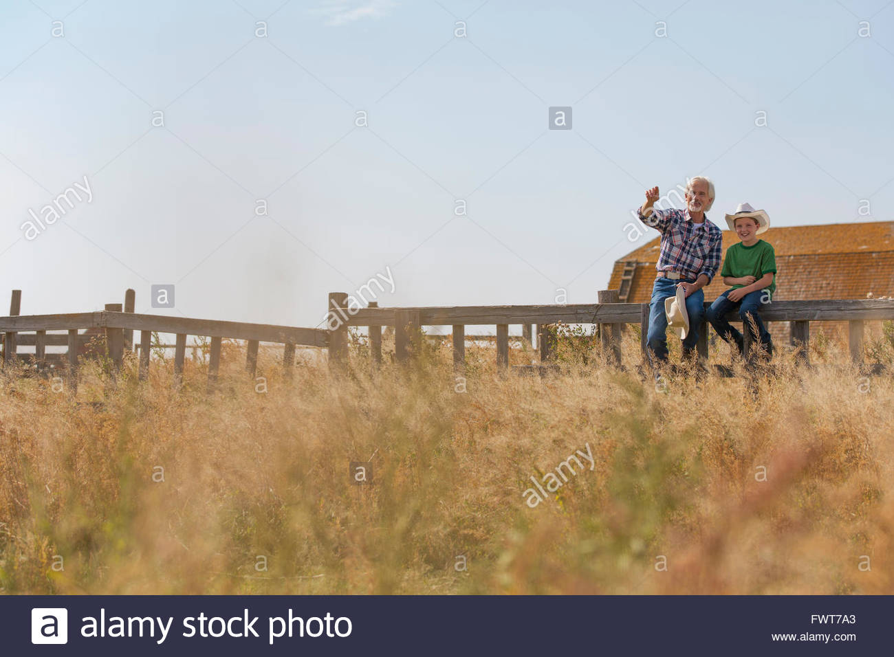 Grandfather pointing out something in field to grandson. - Stock Image