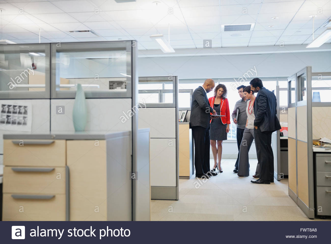 Business team having a conversation beside office cubicles - Stock Image