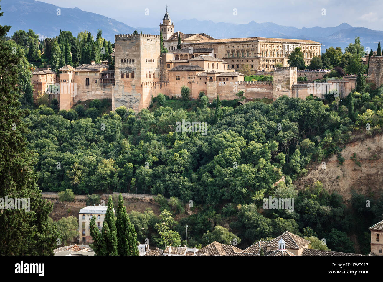 View of the famous Alhambra castle in Granada, Spain. - Stock Image