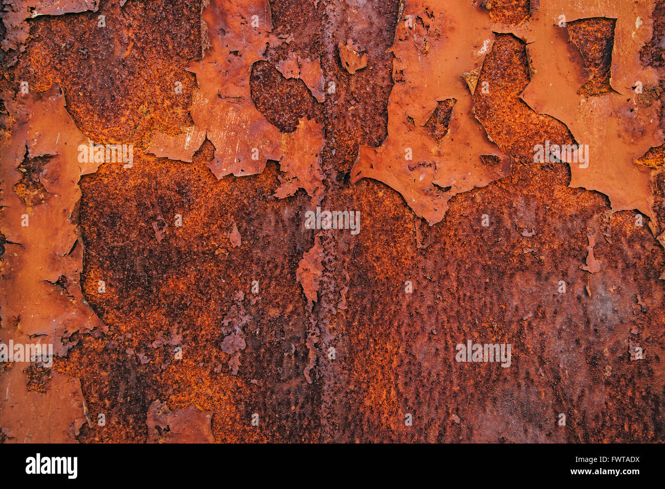 Corroded steel iron plate texture, oxidized red metallic surface - Stock Image