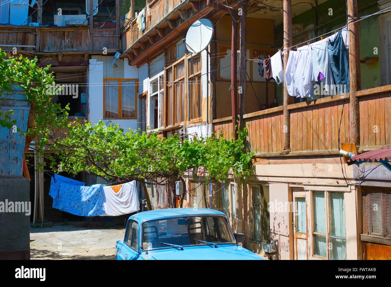 Typical old Georgian yard in Tbilisi city. Georgia Stock Photo