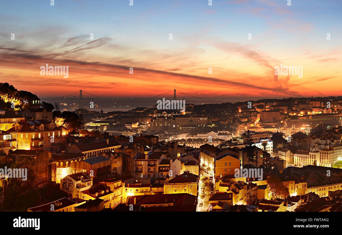 Skyline of Lisbon at beautiful twilight. Portugal - Stock Image