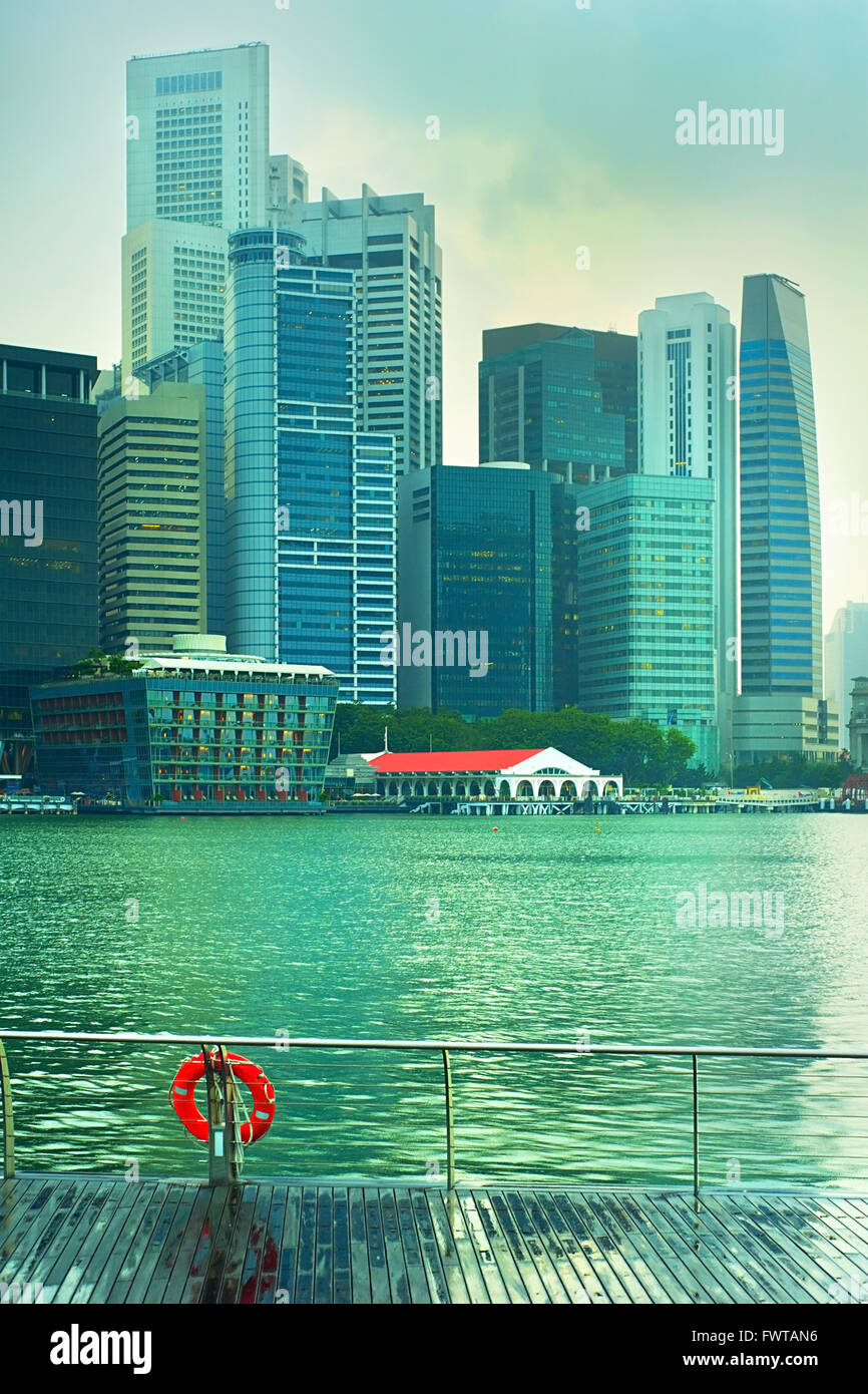 Colorful Singapore Downtown Core after the rain - Stock Image