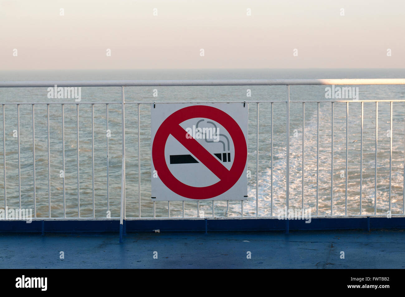 No smoking sign on the deck of an English Channel ferry - Stock Image