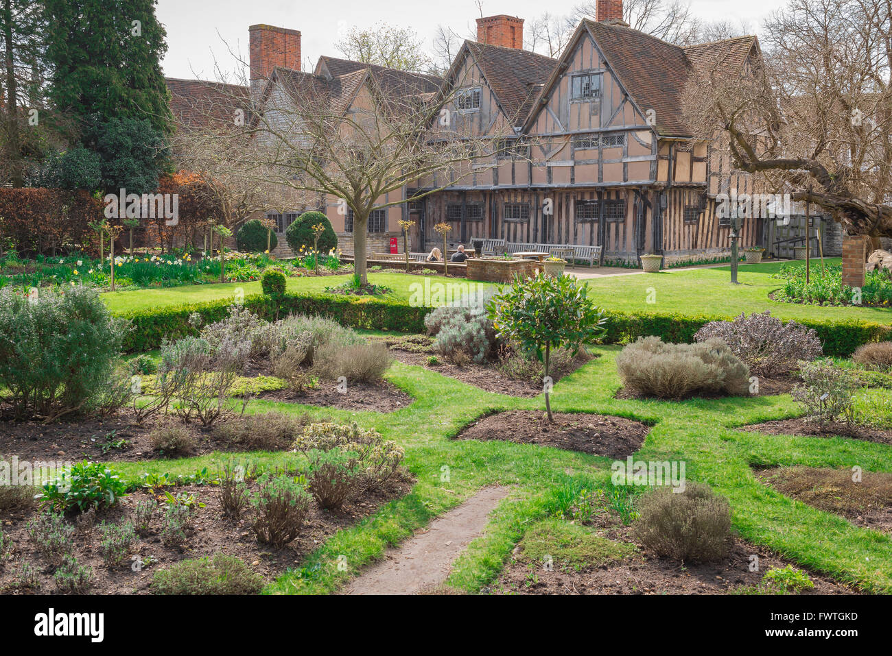 The rear of Hall's Croft, the substantial Jacobean home of Shakespeare's daughter Susanna and her husband Dr John Stock Photo