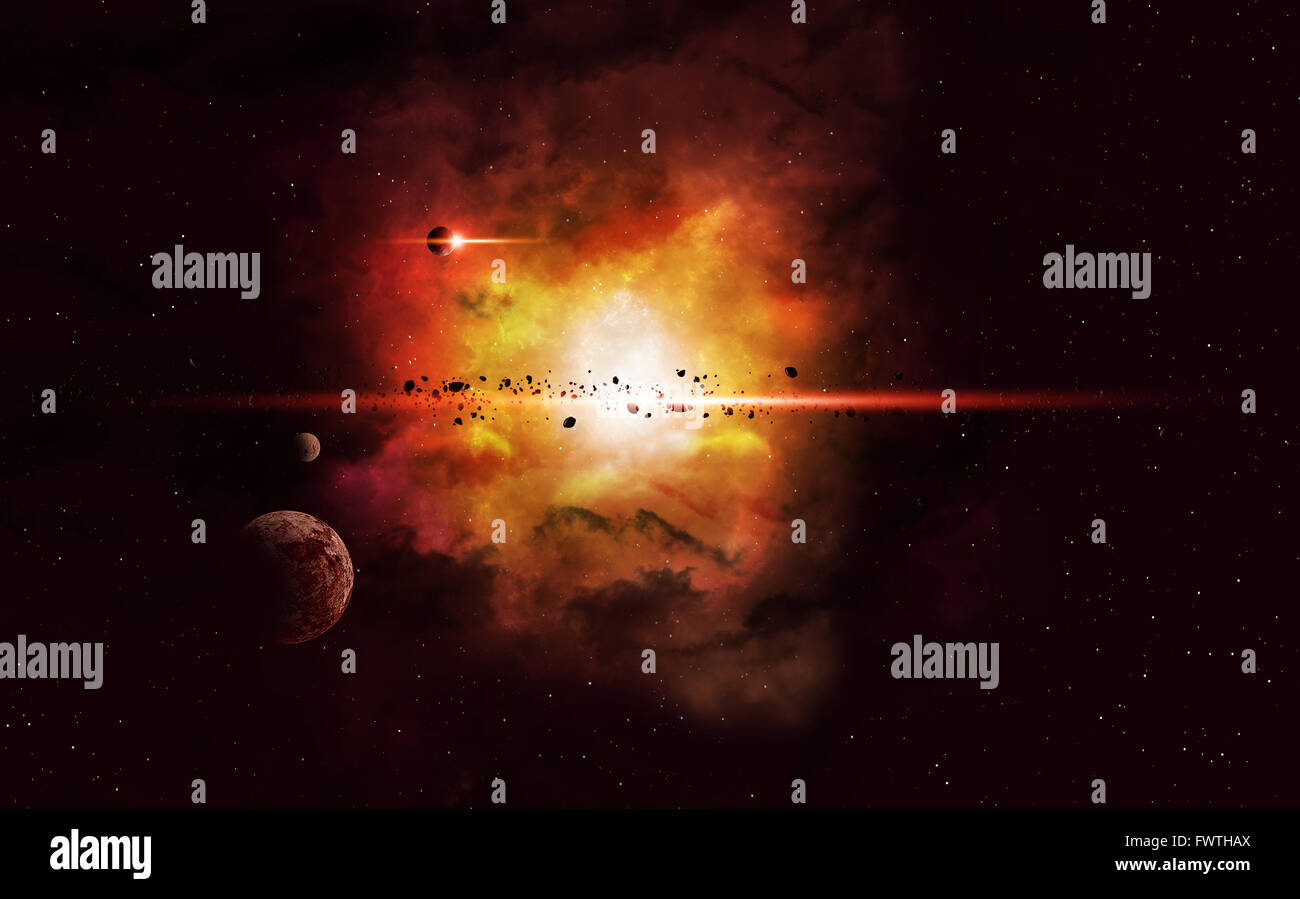 imaginary deep space nebula background with planets and asteroids - Stock Image