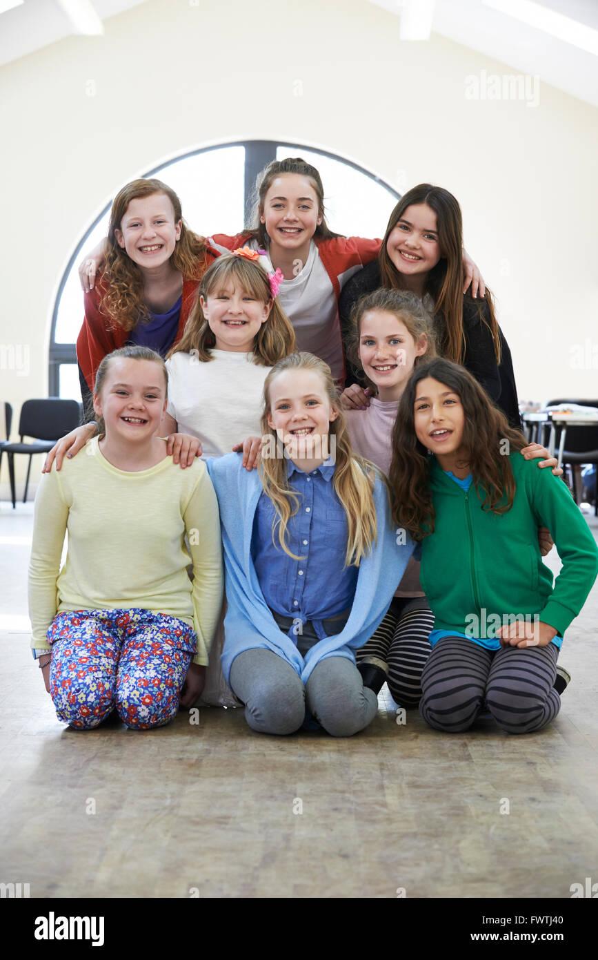 Group Of Children Enjoying Drama Workshop Together - Stock Image