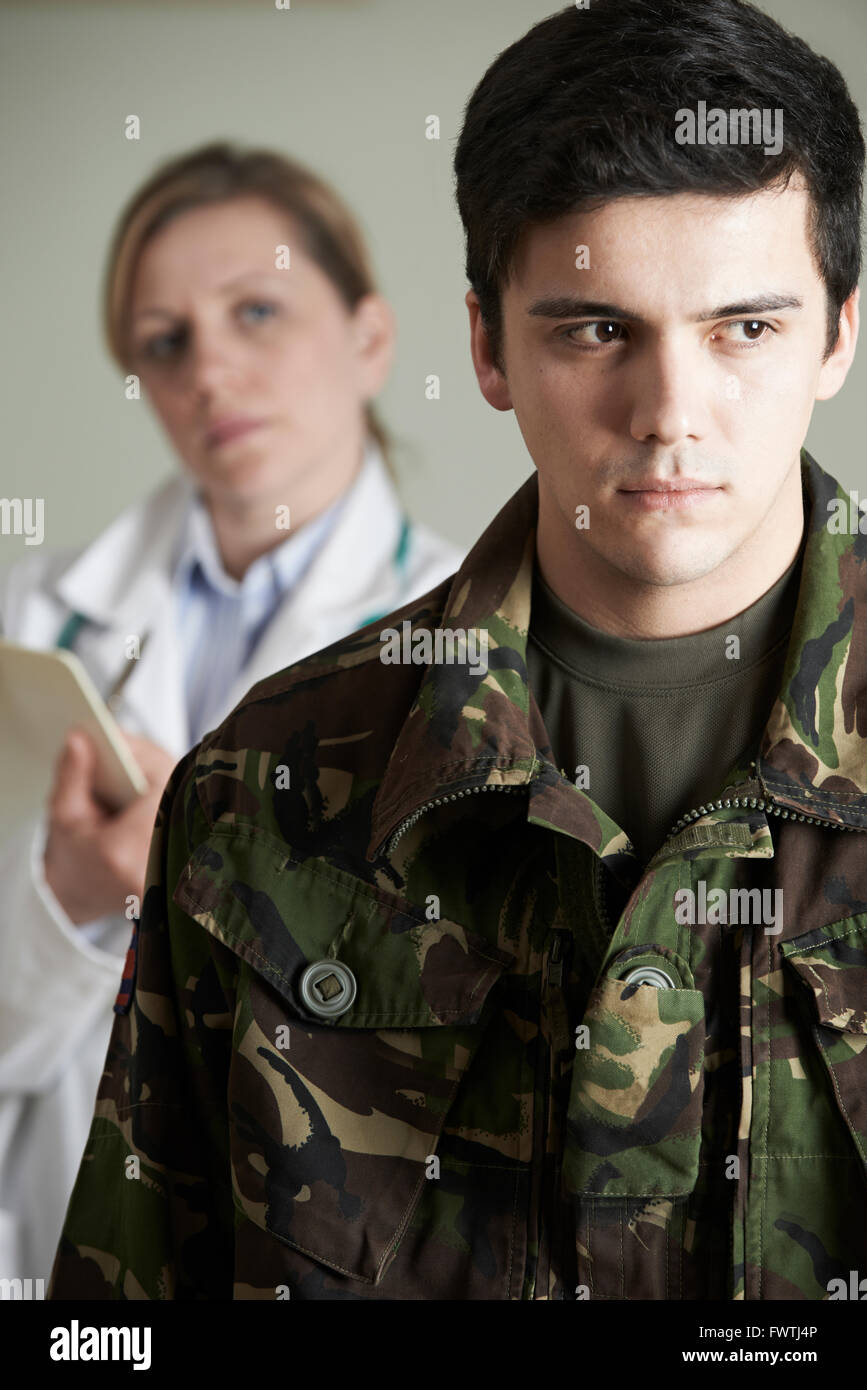 Soldier Being Assessed By Doctor Stock Photo