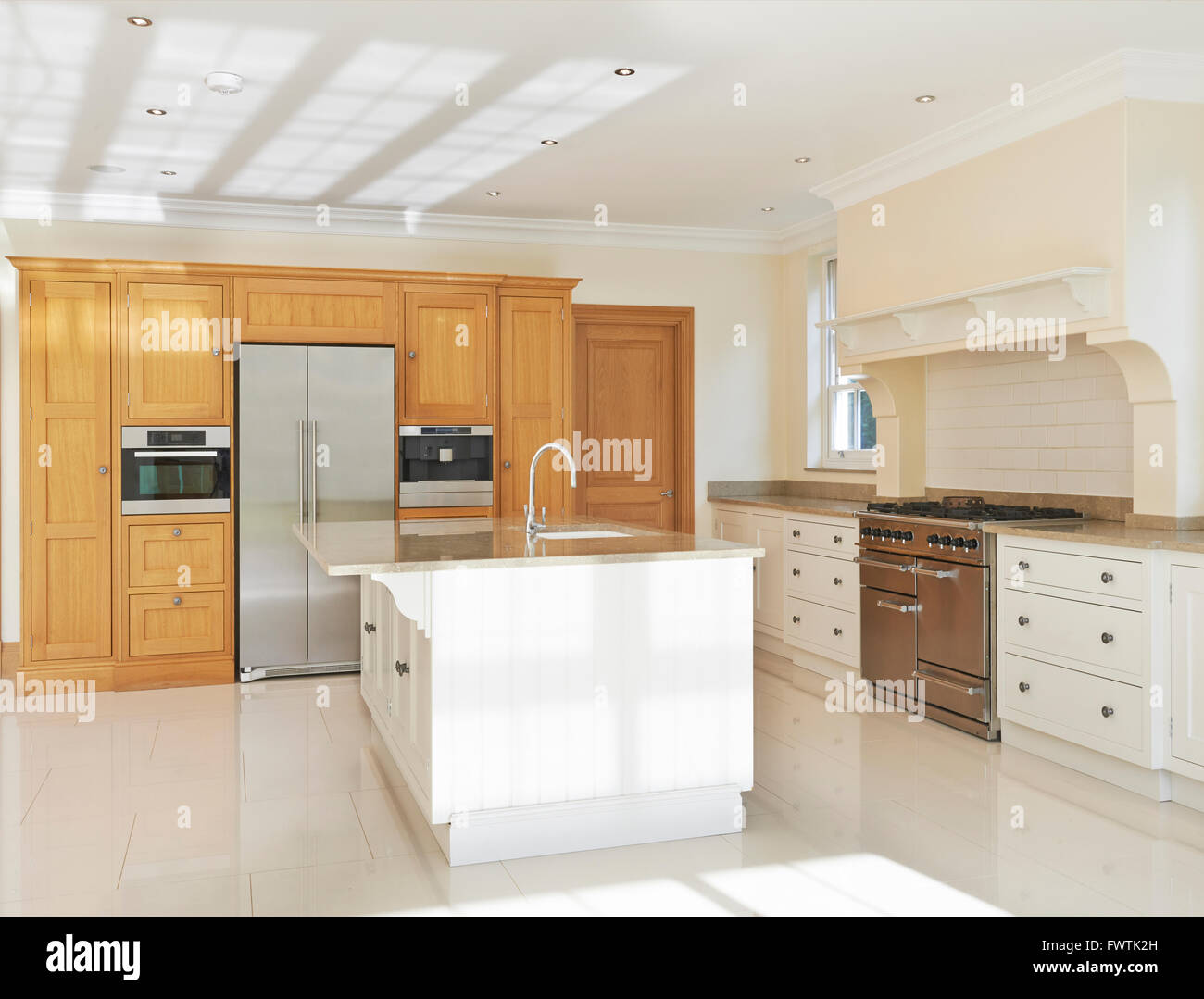 Luxury Fitted Kitchen In House - Stock Image