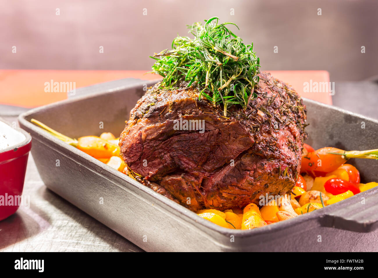 Gourmet Main Entree Course Grilled Rib-Eye Beef steak with herb Stock Photo