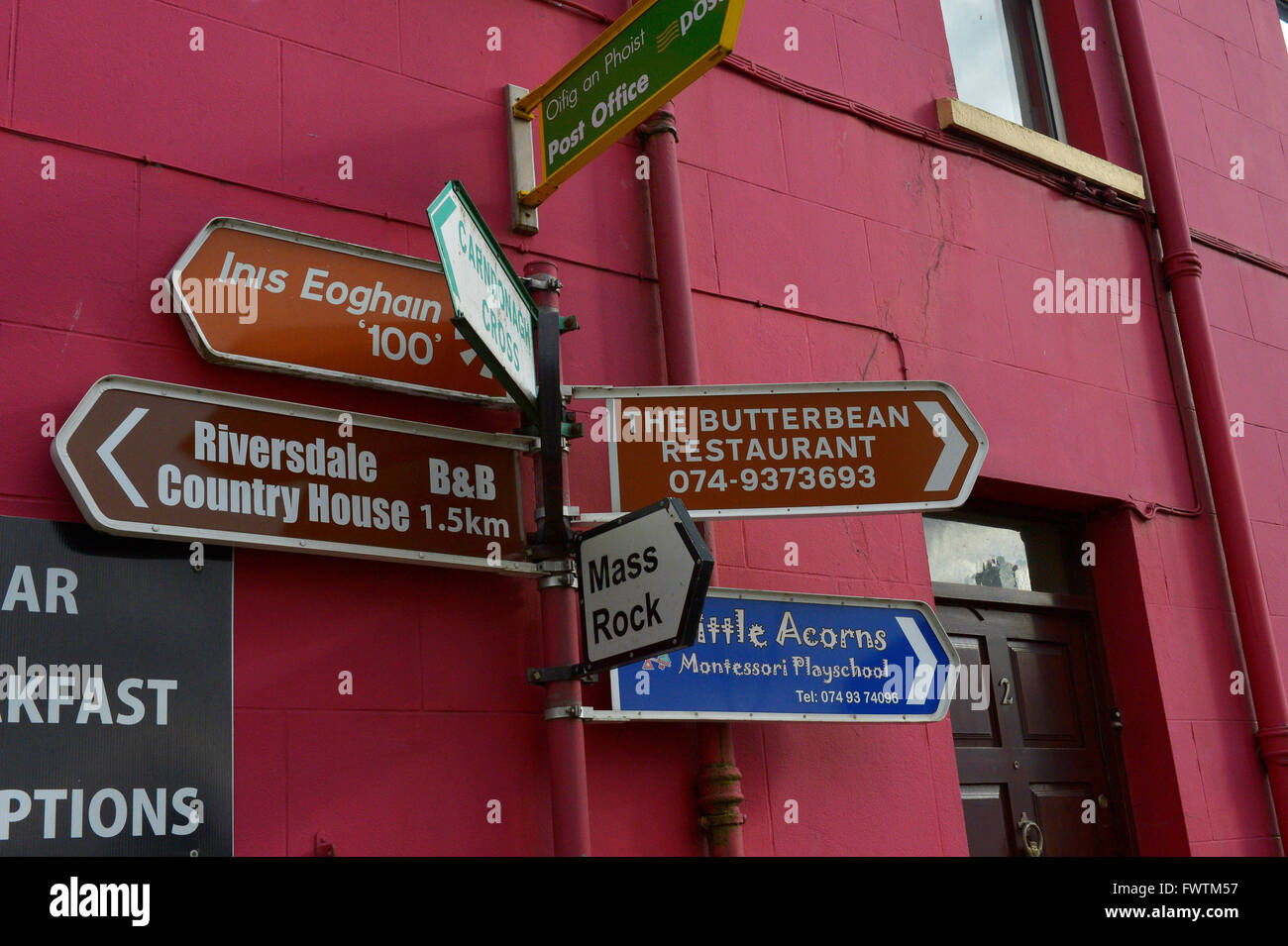 Various signs in Carndonagh, Inishowen, County Donegal, Ireland. - Stock Image