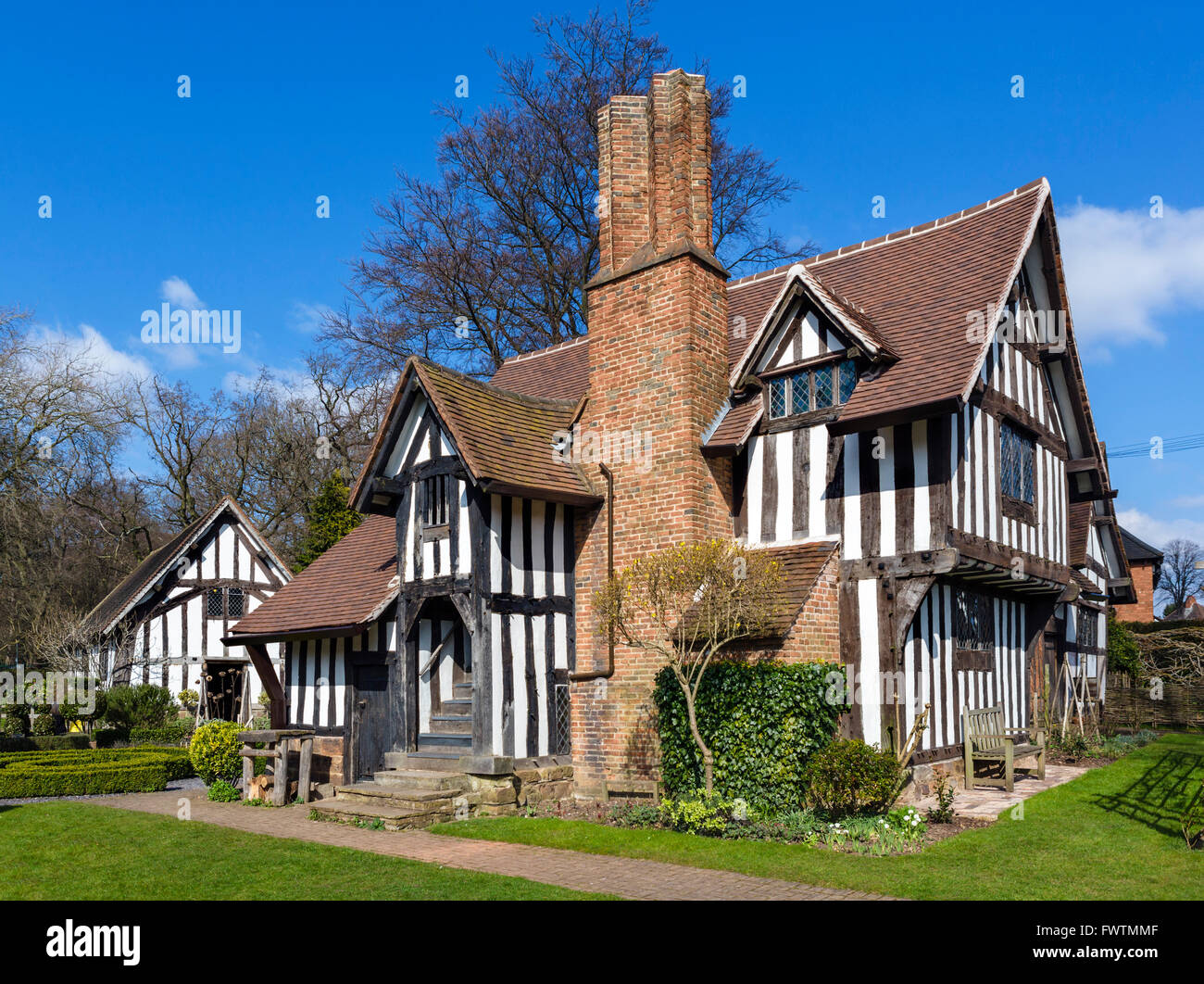 Selly Manor, a reconstructed 14thC manor house, Bournville, Birmingham, West Midlands, UK - Stock Image