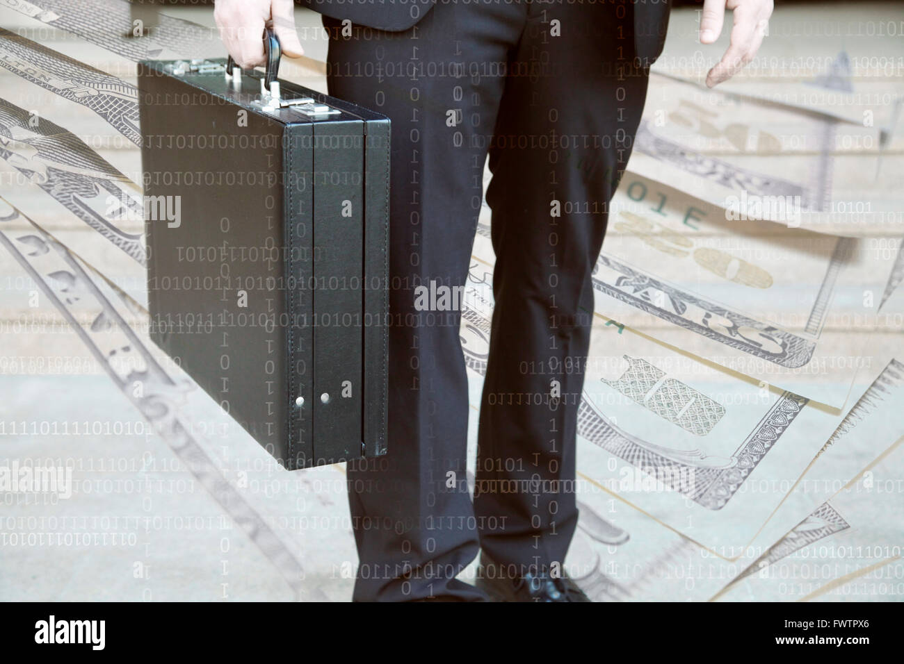 Businessman with briefcase, Dollar notes and Data in background - Stock Image