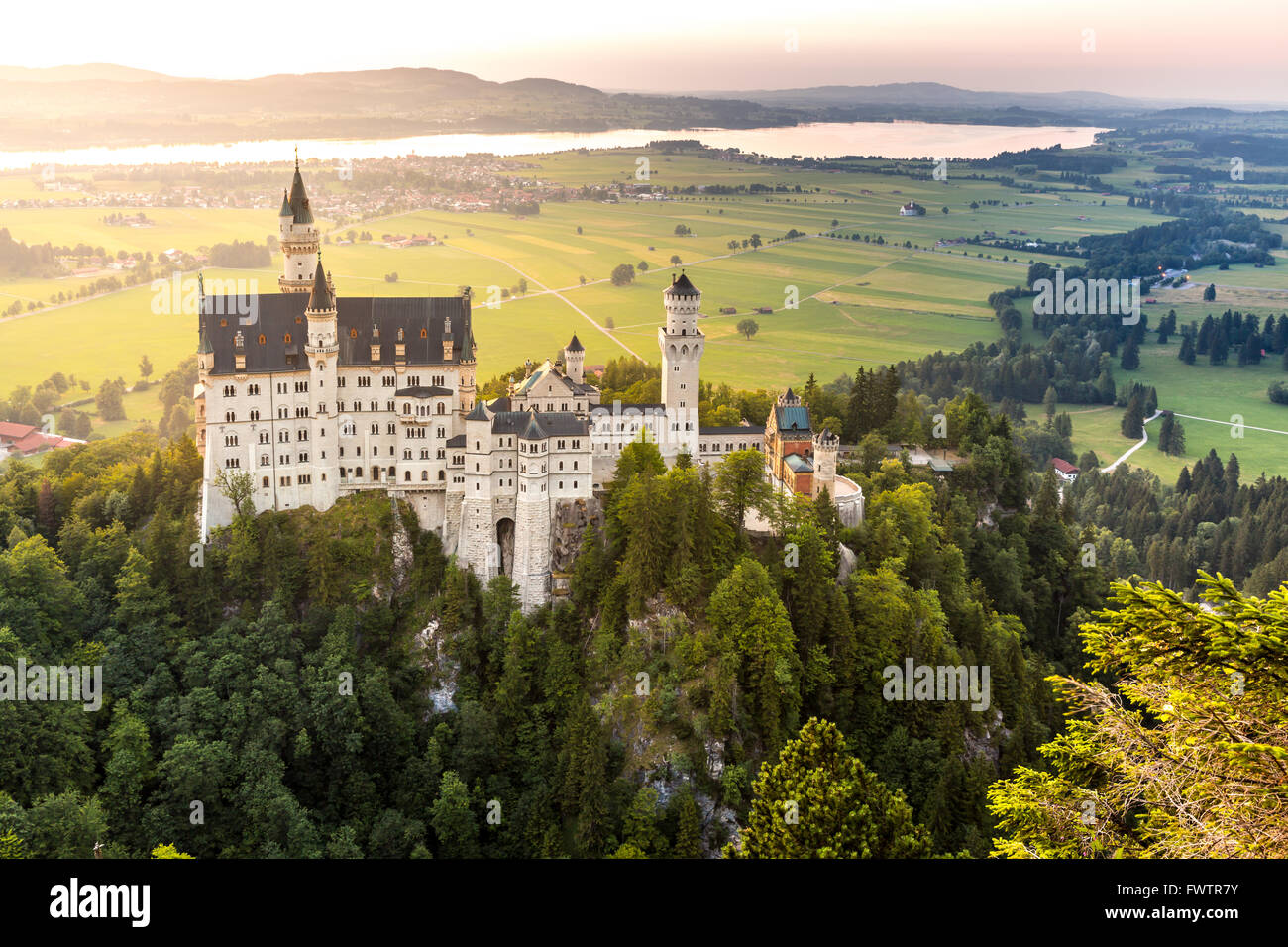 Beautiful summer sunset view of the Neuschwanstein castle at Fussen Bavaria, Germany - Stock Image