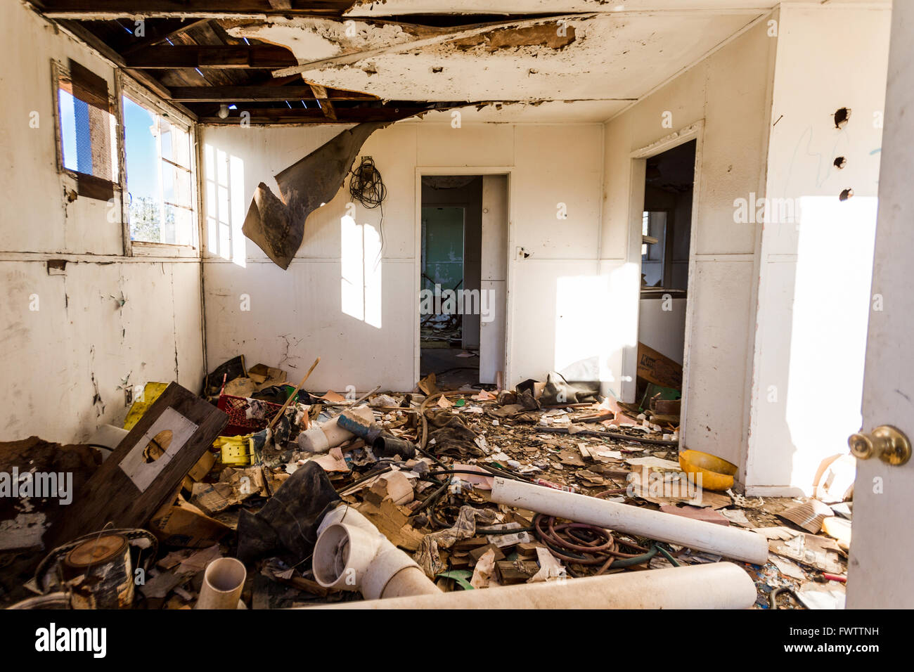 House, filthy, dirty,abandoned,demolished,horrific, garbages - Stock Image