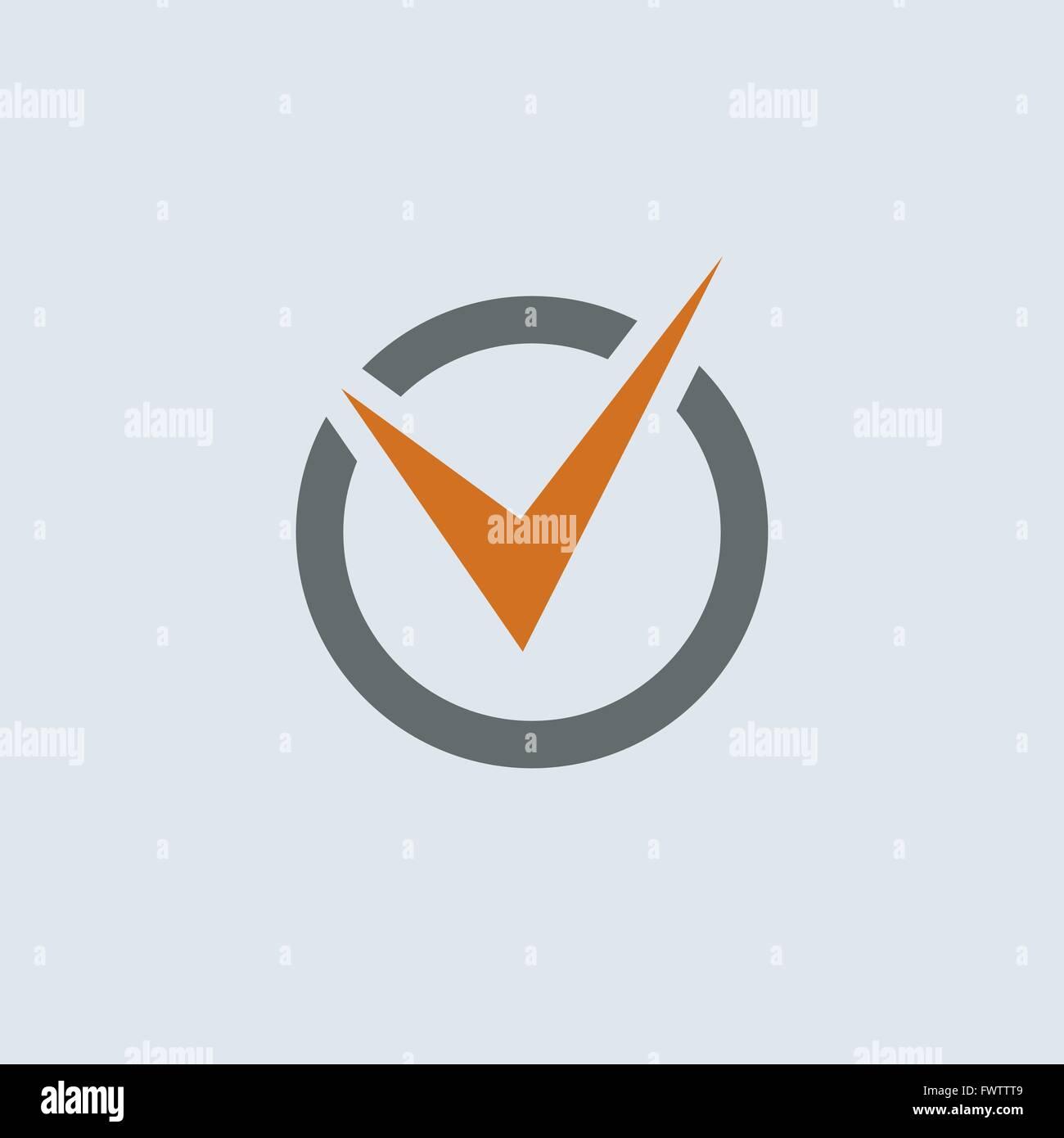 Gray-orange check mark in the circle round web icon - Stock Image