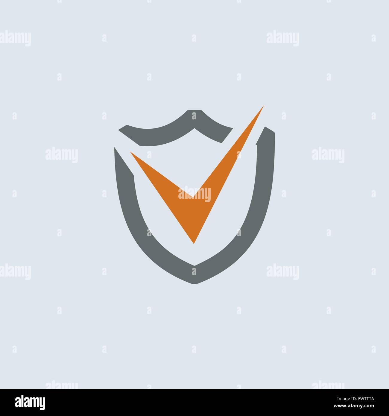 Gray-orange check mark on the shield round web icon - Stock Image