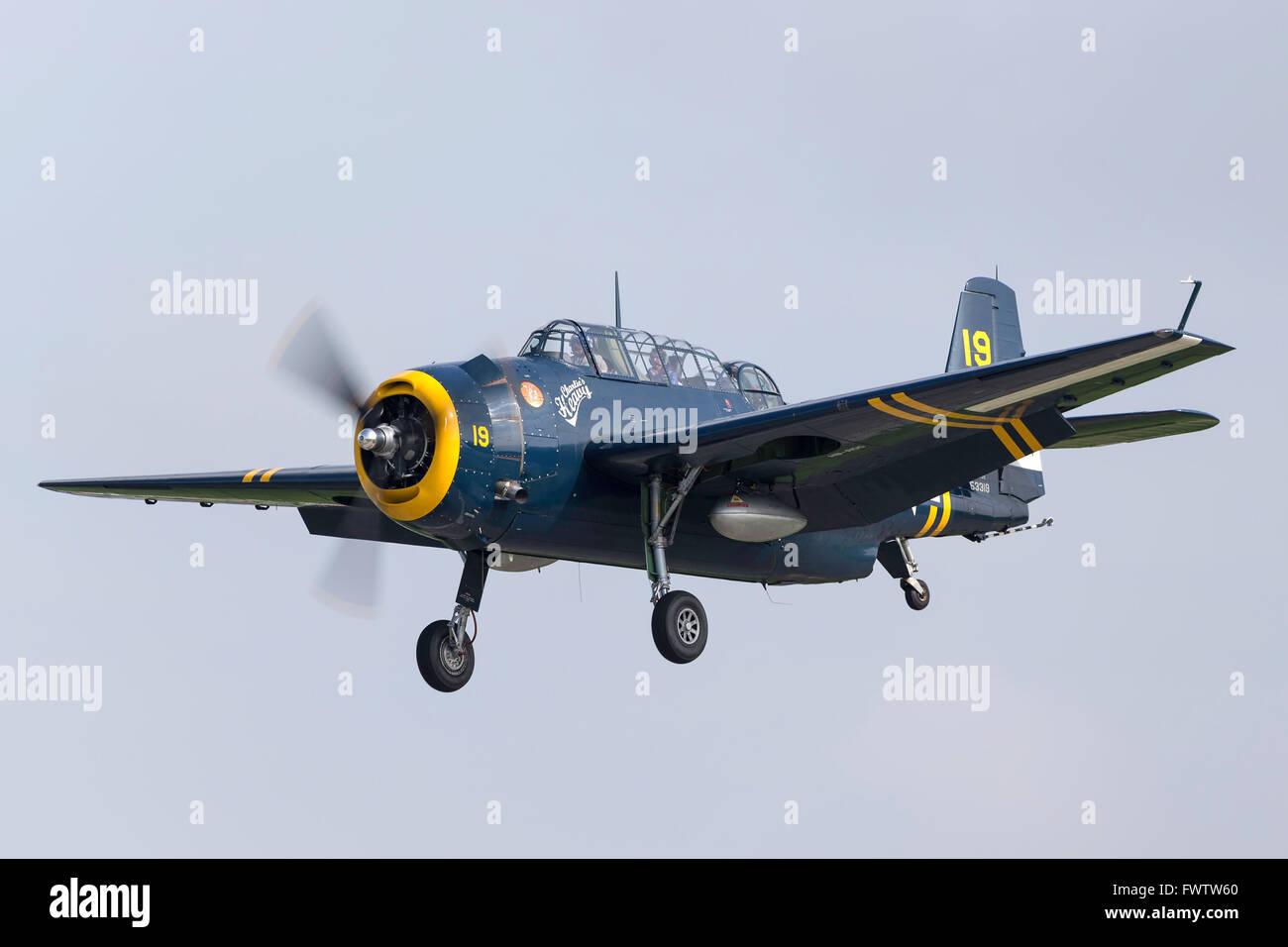 Grumman TBM (TBM-3R) Avenger World War II torpedo bomber aircraft with the civil registration HB-RDG. - Stock Image
