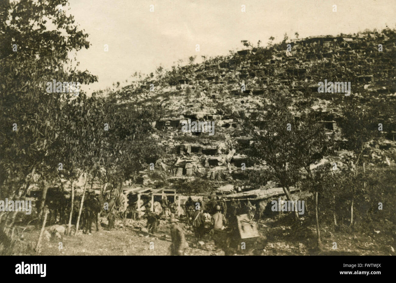 Military installation on 800 foot elevation on the Carso, Italy 1916 - Stock Image