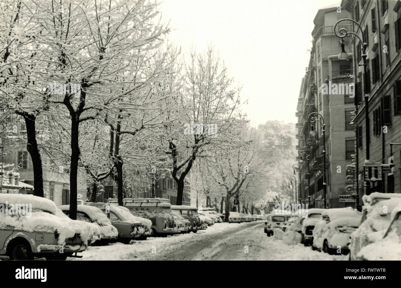 The snowfall of 1956, Rome, Italy - Stock Image