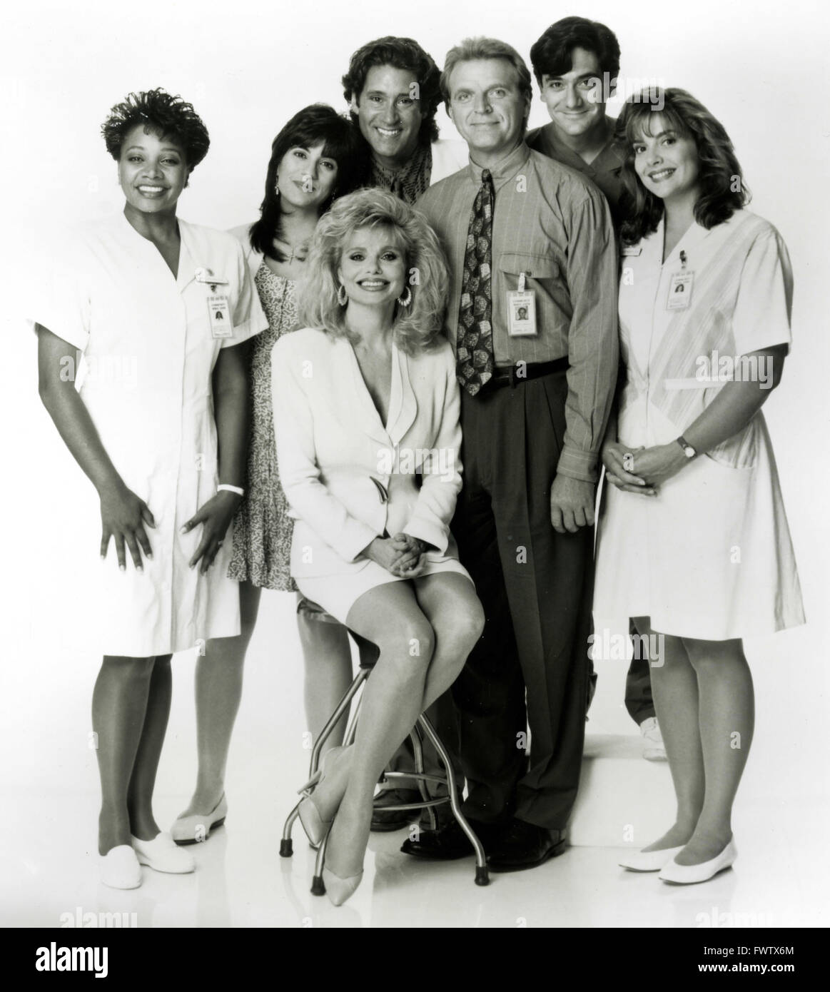 The cast of the TV series Nurses, USA 1993 - Stock Image