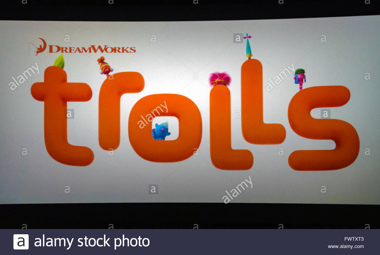 Dreamworks Trolls movie sign at a Mall: advertising sign of upcoming movie - Stock Image