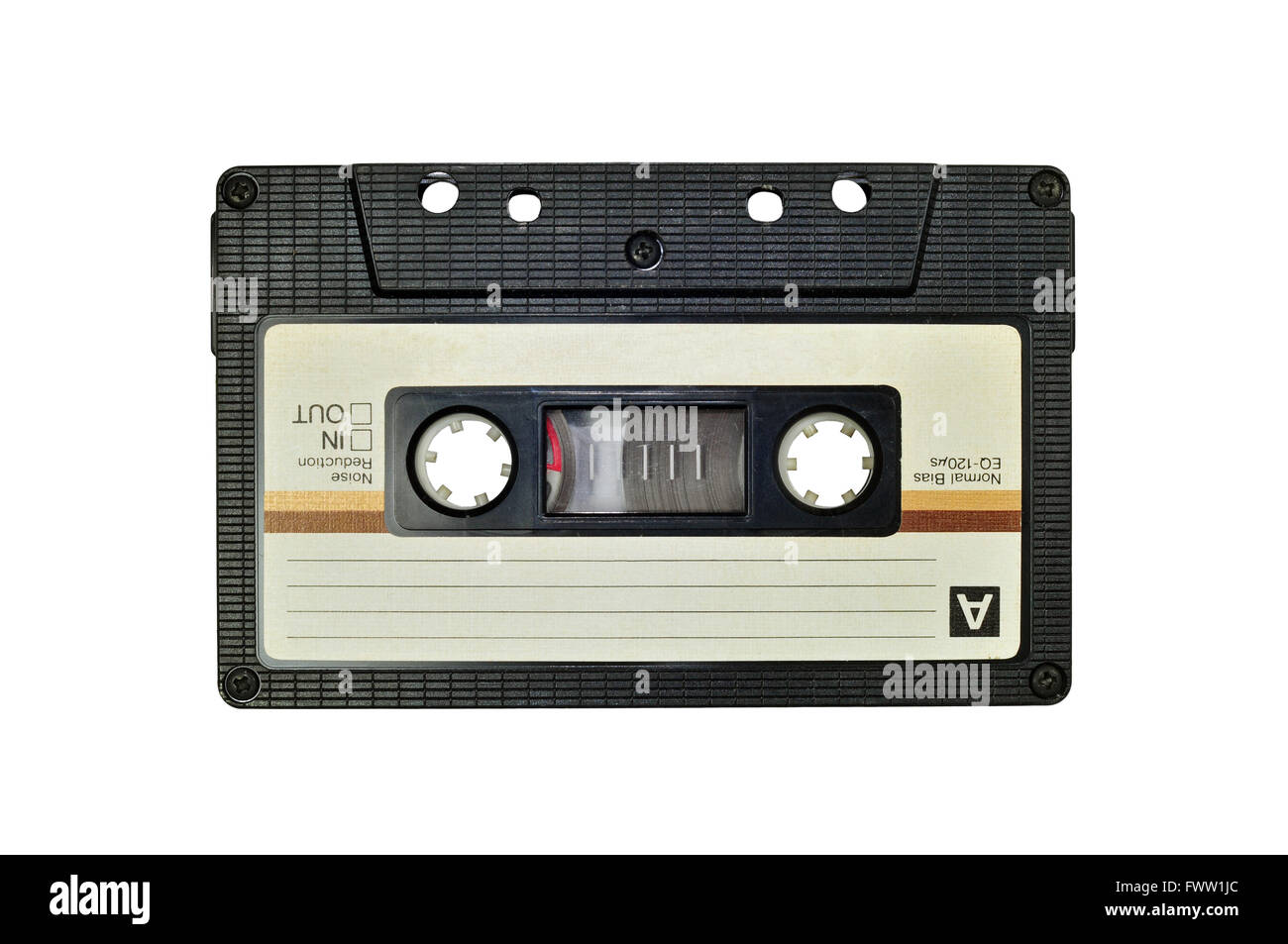 Cassette tape, isolated on white - Stock Image