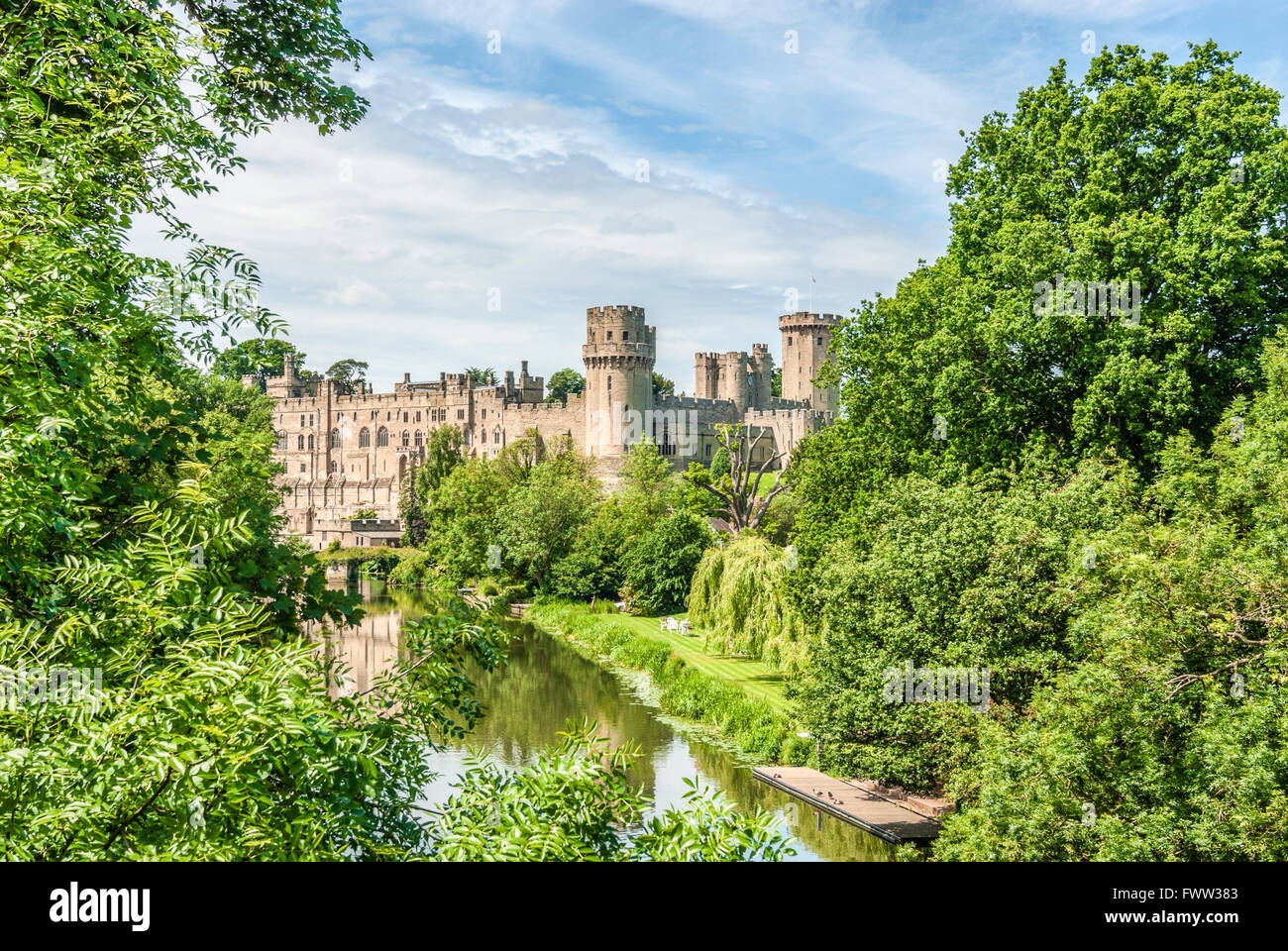 Warwick Castle is a medieval castle in Warwick, the county town of Warwickshire, England, UK - Stock Image