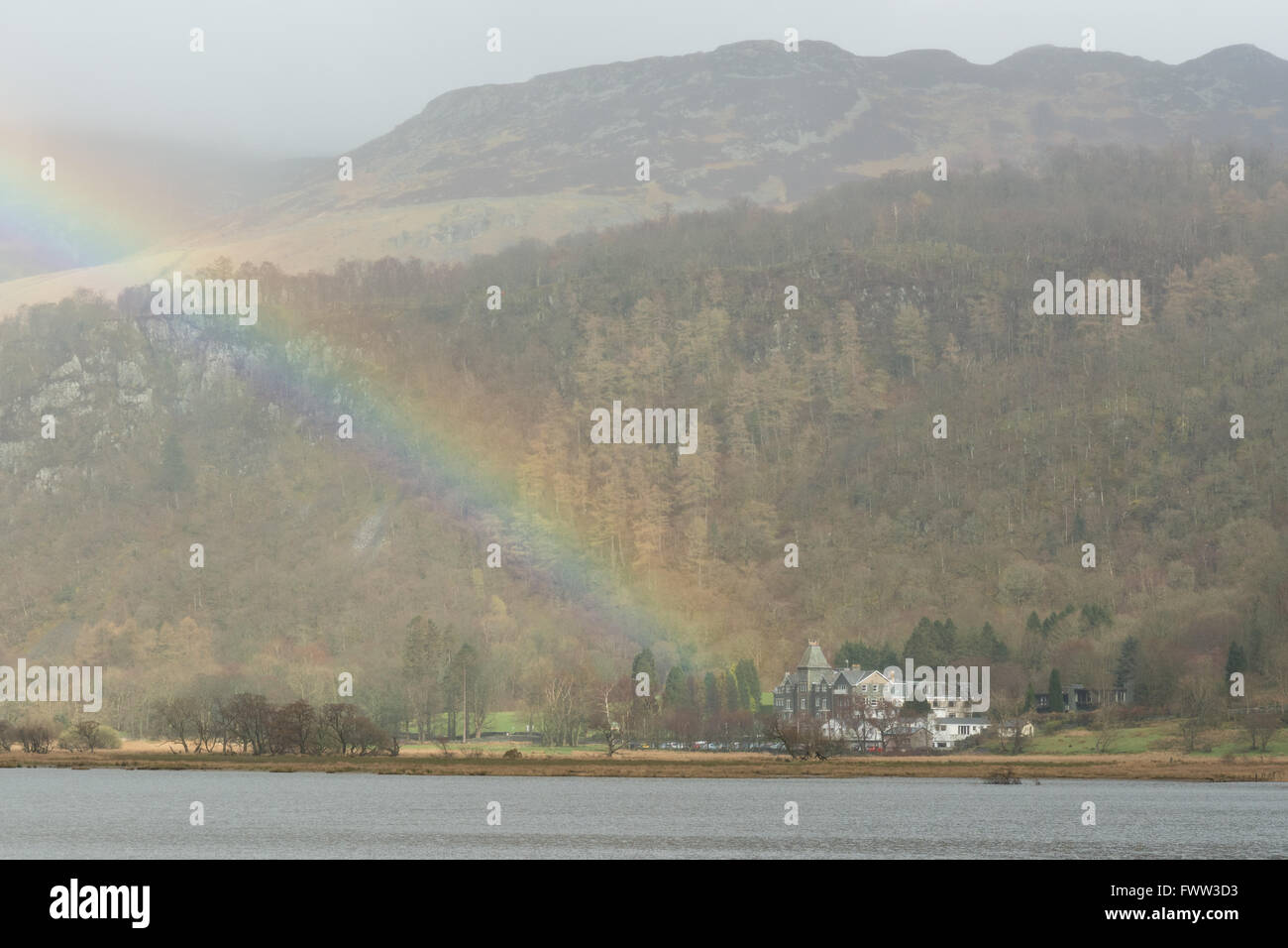 Lodore Falls Hotel at the end of the rainbow - Derwentwater, Borrowdale, Lake District, Cumbria, England, UK - Stock Image