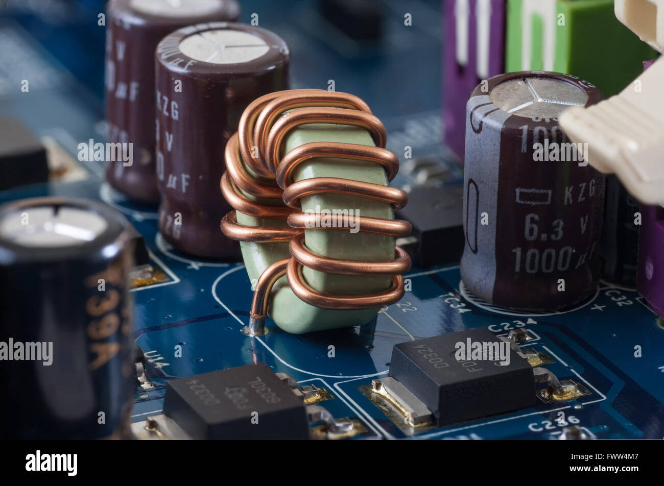 motherboard, computer electronics - dimmer, closeup and macro - Stock Image