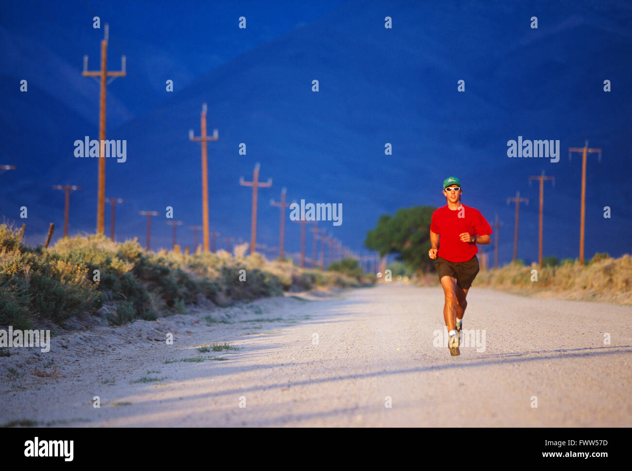 Fit young male athlete trail runner on dirt road in Sierra Nevada foothills; California; USA - Stock Image