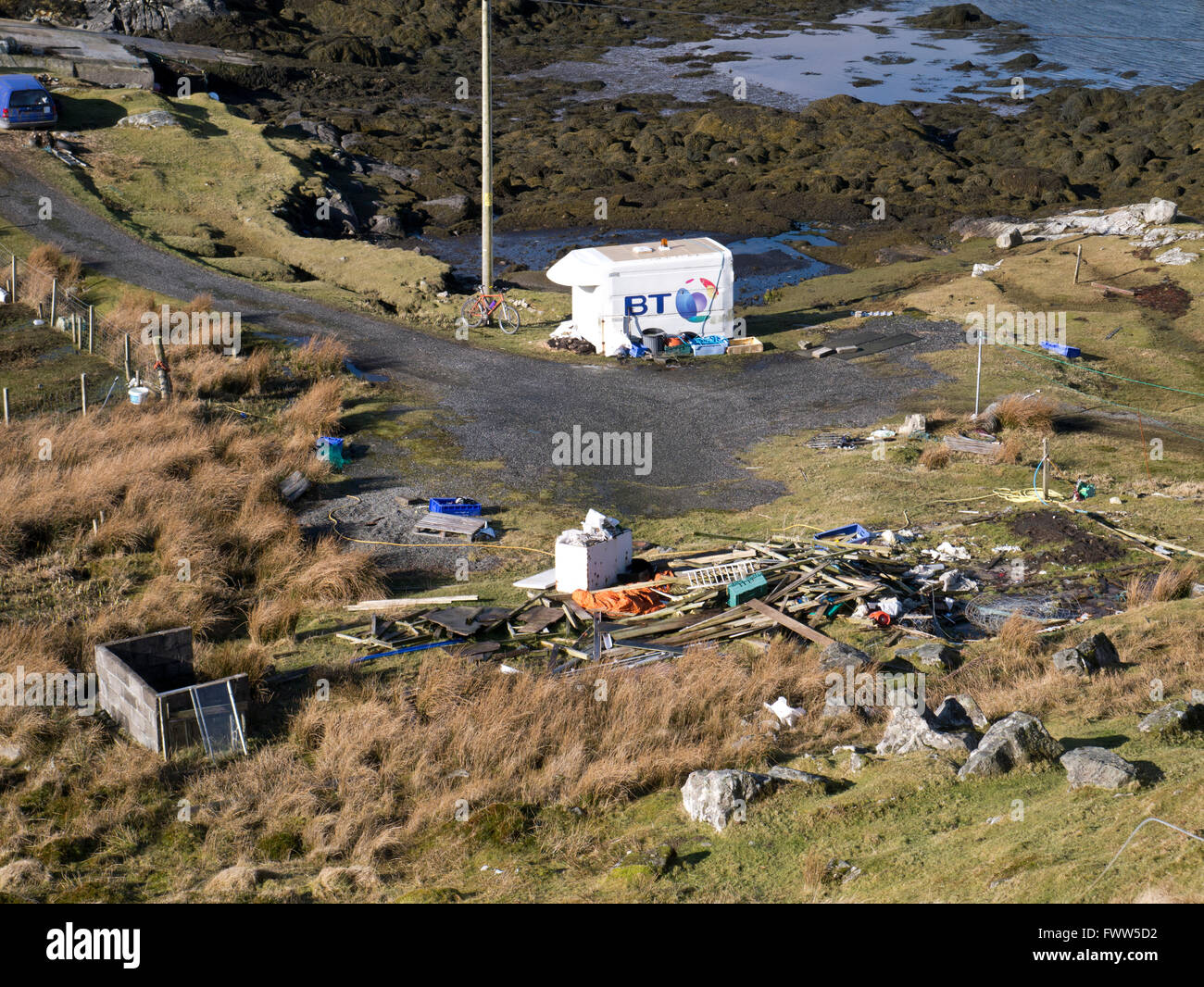Fly tipping on Harris - Stock Image