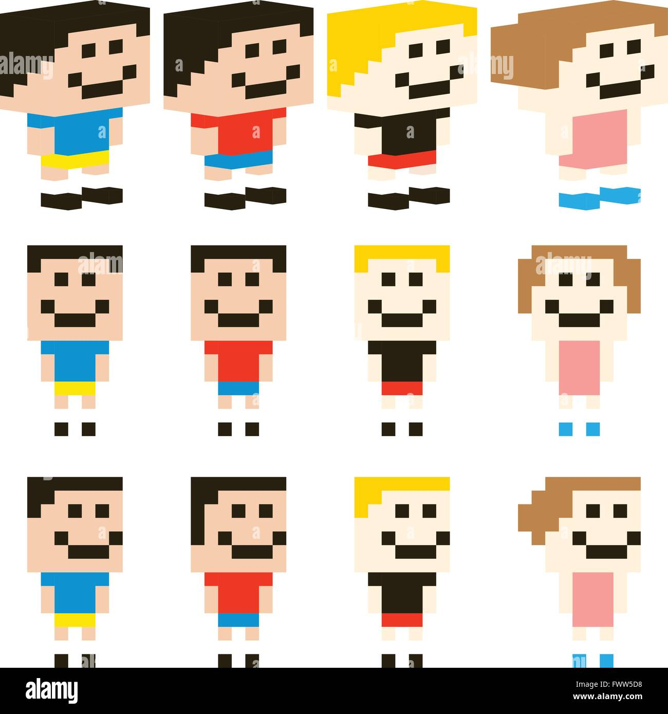 Vector Pixel Art Kids Character Stock Vector Art & Illustration ...