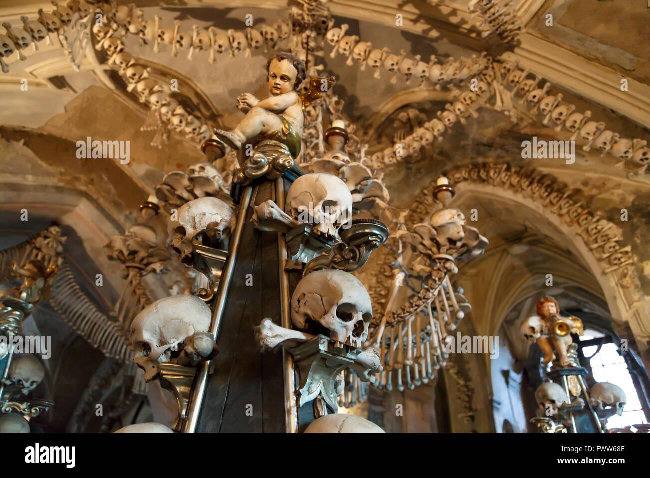 General View Of Sedlec Ossuary Church Of Bones In Kutna Hora Stock