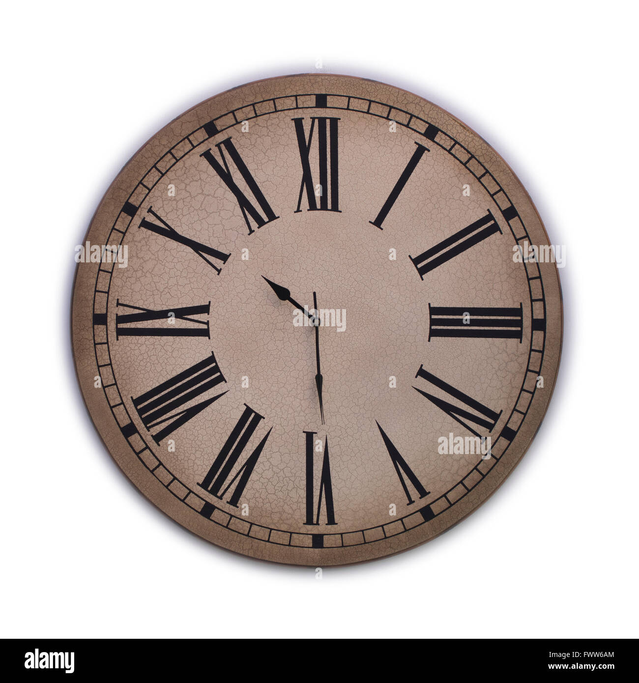 Old clock with roman numerals on a white background - Stock Image