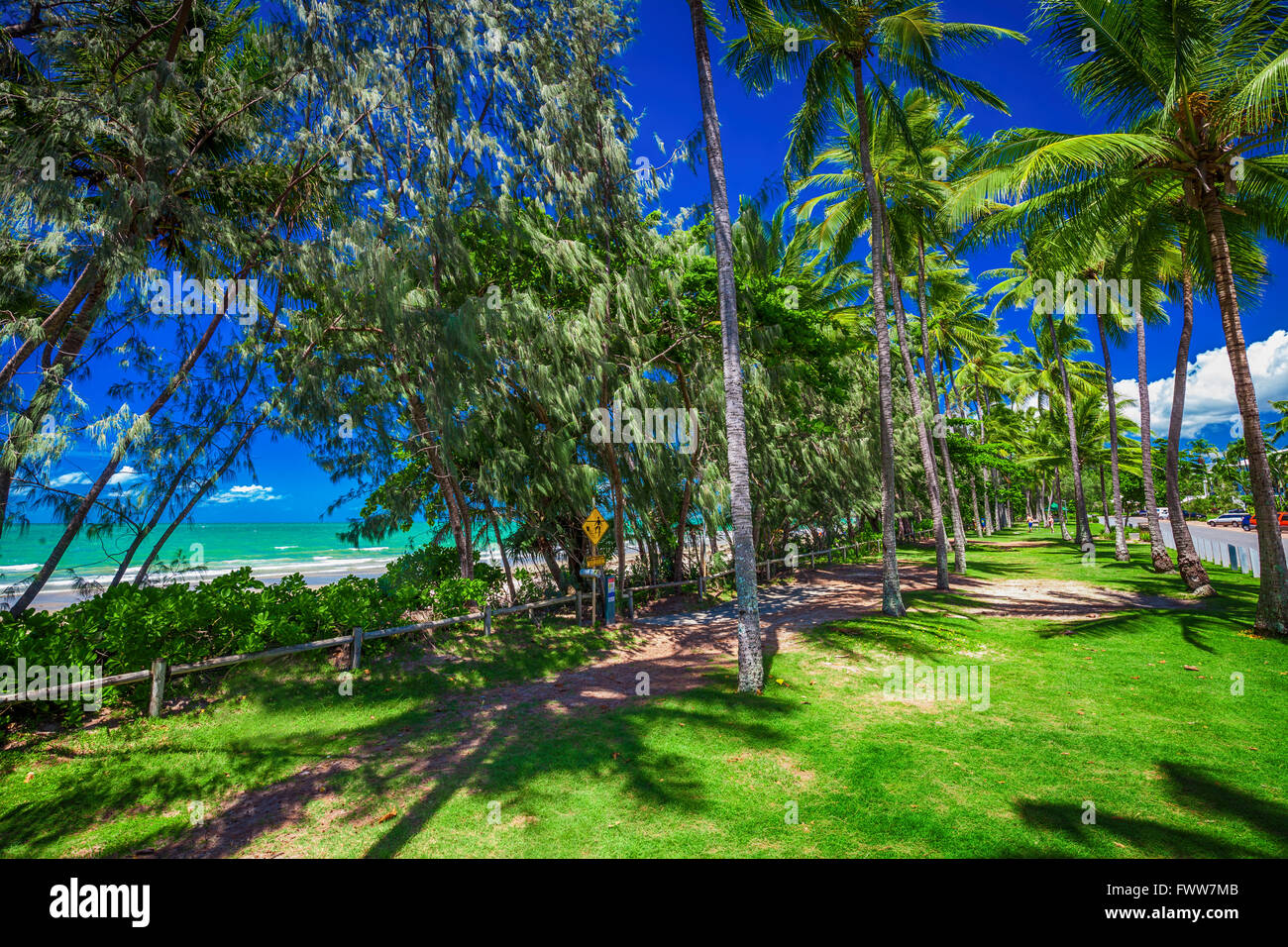 Port Douglas four mile beach and ocean on sunny day, north Queensland, Australia - Stock Image
